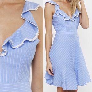 Ruffle Striped Blue Fit & Flare Dress